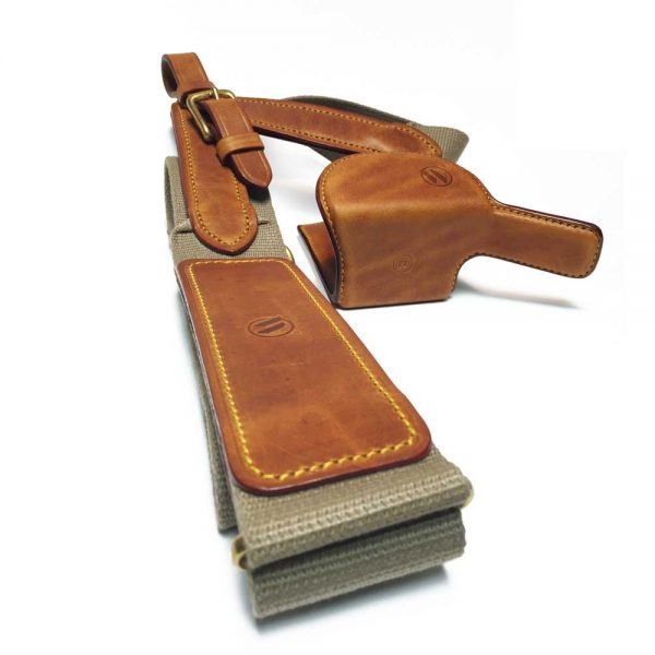 Tan LightGun with strap - yellow stitching